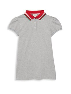 161e325e Gucci. Little Girl's & Girl's Short-Sleeve Striped Collar Piquet Polo Dress