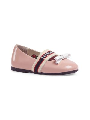 Gucci Baby Girl Girl S Patent Leather Logo Strap Ballet Flats