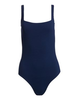 Heidi Klein Ribbed Lace Up One Piece Swimsuit