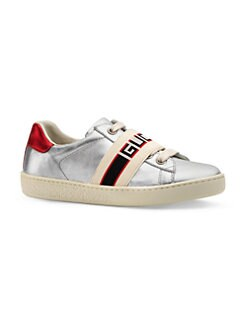 6d943d3120c Gucci. Baby   Kid s New Ace Logo Strap Leather Sneakers