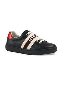 f75de5945cb Gucci. Kid s New Ace Leather Sneakers