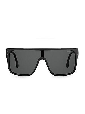 Image of Eye-catching shield sunglasses with sleek modern styling and bold plastic temples. 100% UV protection Fashion shield silhouette Gradient lenses Case and cleaning cloth included Plastic Hand clean with soft cloth Imported SIZE 99mm lens width 1mm bridge wi