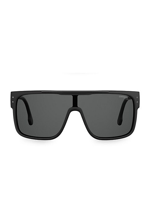 Image of Eye-catching shield sunglasses with sleek modern styling and bold plastic temples.100% UV protection. Fashion shield silhouette. Gradient lenses. Case and cleaning cloth included. Plastic. Hand clean with soft cloth. Imported. SIZE.99mm lens width.1mm bri