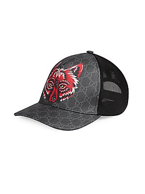 Gucci - GG Supreme Baseball Hat with Wolf - saks.com 6a16fec0398