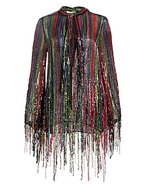 "Image of A waterfall of sequined fringe adds texture and drama to this party-ready top. A rainbow color scheme enhances the fun-loving aspect of the piece. Deep V-neck with self-tie Long sleeves Pullover style Viscose Dry clean Imported SIZE & FIT About 27"" from s"