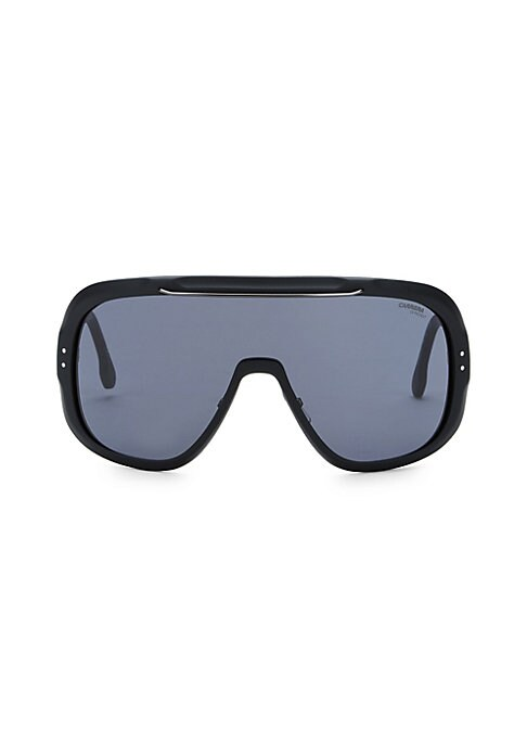 Image of Eye-catching shield sunglasses with bold plastic temples and ultra-modern styling.100% UV protection. Fashion shield silhouette. Full lenses. Adjustable nose pads. Case and cleaning cloth included. Optyl. Hand clean with soft cloth. Imported. SIZE.99mm le