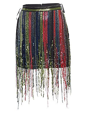 "Image of A sequin-trimmed fringe in rainbow hues transforms this mini skirt into a magical piece. Team with the matching top for a modern flapper silhouette. Banded waist Concealed back zip closure Viscose Dry clean Imported SIZE & FIT About 14.5"" long Model shown"