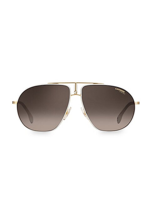 Image of Eye-catching aviator sunglasses with sleek modern styling and thin metal temples.100% UV protection. Fashion aviator silhouette. Gradient lenses. Adjustable nose pads. Case and cleaning cloth included. Metal. Hand clean with soft cloth. Imported. SIZE.60m