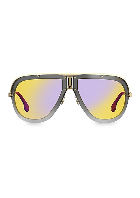 Image of Eye-catching shield sunglasses with ultra-modern details and bold gradient lenses.100% UV protection. Fashion shield silhouette. Gradient lenses. Adjustable nose pads. Case and cleaning cloth included. Metal/plastic. Hand clean with soft cloth. Imported.