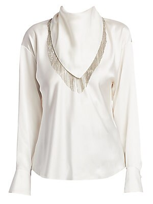 Image of A ball chain trim dazzles on the removable kerchief enhancing this Western-inspired blouse. A silk construction lends itself well to the roomy cut of the piece. Roundneck with removable self-tie scarf Long sleeves Buttoned cuffs Concealed back zip closure