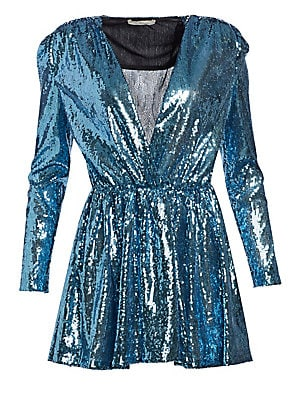 Image of Covered in shimmering sequins, this is one jaunty party frock. Mini in length, the dress is balanced out by a bold shoulder that lends it a modern day 80s attitude. Surplice V-neck Bracelet-length sleeves Pullover style Gathered waistband Polyester Dry cl