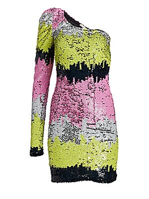 Image of Sherbet-hued sequined stripes lend this mini dress an artful air. A single puff sleeve contributes to the overall 80s attitude of the piece. Asymmetric neckline One long puff sleeve Concealed side zip closure Lined Nylon Dry clean Imported SIZE & FIT Abou