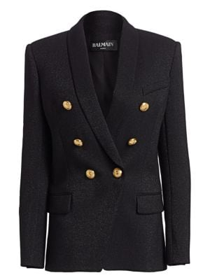 Double Breasted Glitter Jacket by Balmain