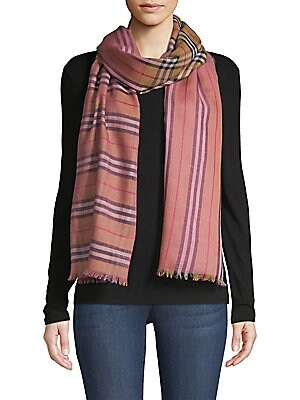 "Image of Two-tone chiffon scarf with delicate fringes and brand's iconic tartan design. Wool/silk Dry clean Made in Italy SIZE 27.6""W x 86.6""L. Soft Accessorie - Day And Evening Wraps. Burberry. Color: Pink."