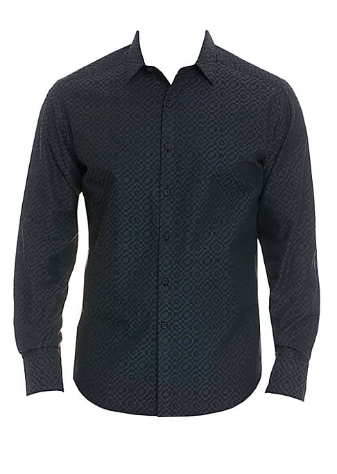 Image of A geometric jacquard lends this cotton sport shirt a sophisticated finish. Spread collar. Long sleeves. Buttoned cuffs. Button front. Contrasting print inside placket and collar. Shirttail hem. Cotton. Machine wash. Imported. SIZE & FIT. Classic fit. Abou