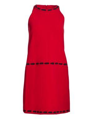 Trompe L'Oeil Shift Dress in Red Mult