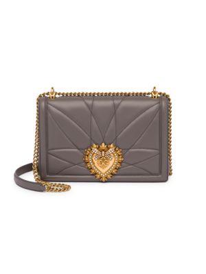 DOLCE & GABBANA Large Devotion Quilted Leather Shoulder Bag