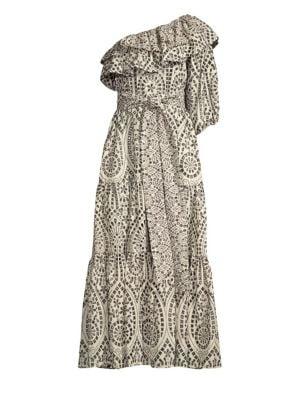 Lisa Marie Fernandez Arden Double Ruffle Cotton Eyelet Maxi Dress