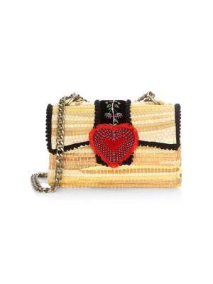 KOORELOO Divine Bijoux Fabric Heart Clutch in Yellow