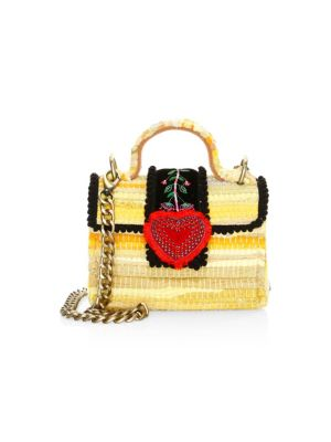 KOORELOO Divine Petite Embroidered & Woven Chain Crossbody Bag in Yellow