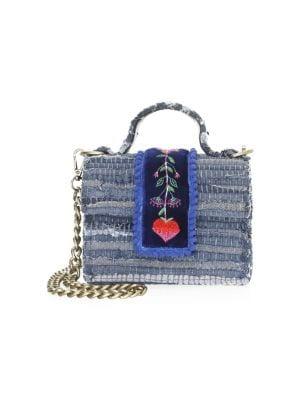 KOORELOO Divine Petite Embroidered & Woven Crossbody Bag in Blue