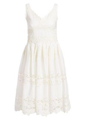 Poplin Lace Tiered A Line Dress by Dolce & Gabbana