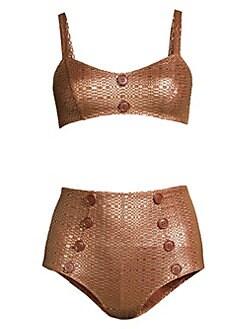 c42ed2da40ce4 QUICK VIEW. Lisa Marie Fernandez. Genevieve Button High-Waist Two-Piece  Bikini