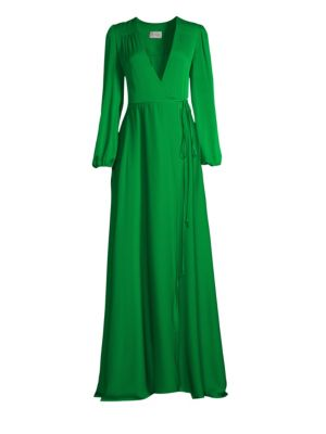Gina Silk Blend Plunging Wrap Gown by Milly