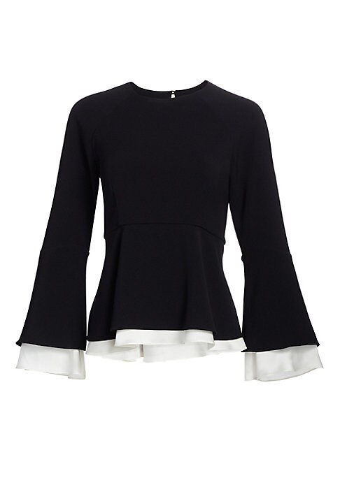 """Image of Bell sleeve blouse with layered ruffle trim. Roundneck. Three-quarter bell sleeves. Back button closure. Empire waist. Ruffle peplum. Triacetate/polyester. Dry clean. Imported of Japanese fabric. SIZE & FIT. About 23.75"""" from shoulder to hem. Model shown"""