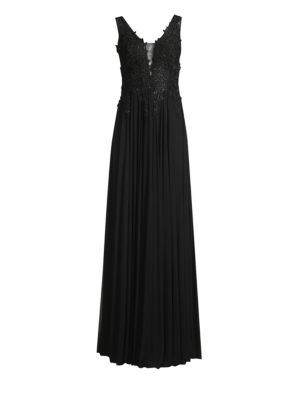 BASIX BLACK LABEL Embroidered-Bodice Column Gown in Black