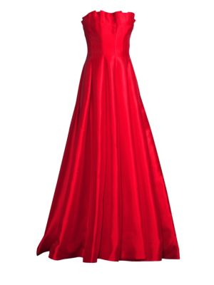 BASIX BLACK LABEL Ruffled Strapless Gown in Red