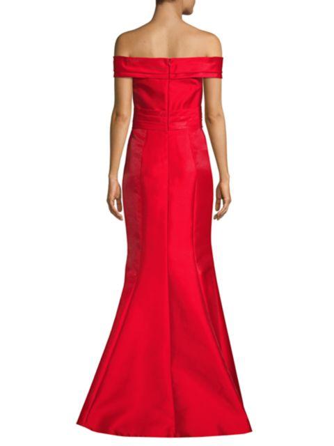 Basix Black Label Off-The-Shoulder Bow Front Mermaid Gown   SaksFifthAvenue