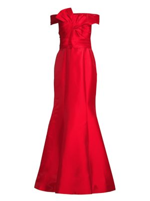 BASIX BLACK LABEL Off-The-Shoulder Bow Front Mermaid Gown in Red