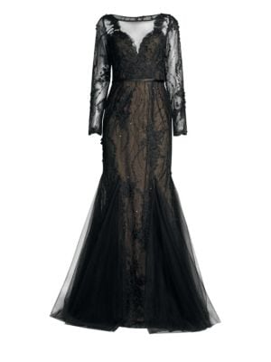 BASIX BLACK LABEL Lace Tulle Mermaid Gown in Black