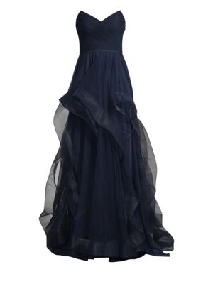 BASIX BLACK LABEL Strapless Tulle Gown in Navy