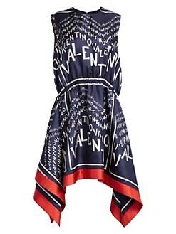 c35bf0e21a QUICK VIEW. Valentino. Silk Chevron-Print Handkerchief Dress
