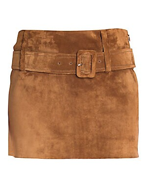 Suede Belted Mini Skirt by Prada