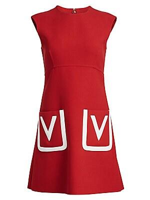 Valentino V Logo Pocket Wool Dress