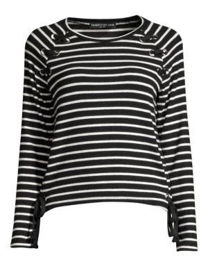 GENERATION LOVE Kath Lace-Up Striped Tee in Black/White
