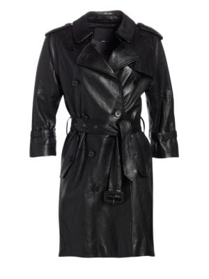 R13 Three Quarter Sleeve Leather Trench Coat