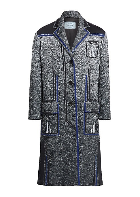 Image of A re-imagined outerwear look, this menswear-inspired jacket is crafted from lightweight stretch fabric. Its allover speckled print with line graph contrast offers a modern look for cooler days. Notched lapels. Long sleeves. Button front. Waist flap pocket