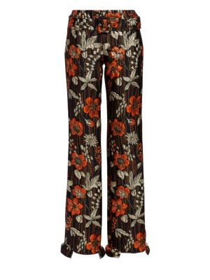 Cloquet Flower Ruffle Pants in Orange