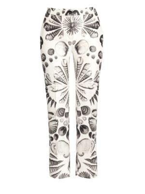 Cabinet Of Shells Wool-Silk Cigarette Trouser Pants in Ivory Black