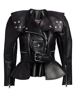 38ed3ae52378b Alexander McQueen. Armour Leather Peplum Moto Jacket