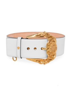 Cintura Vitello Leather Belt in Off White
