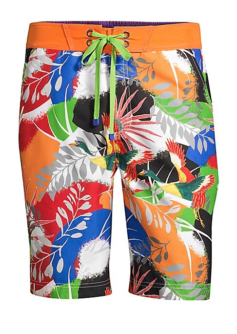 Image of Bold and bright, RG's tropical print board short is splashed with exotic leaf patterns and birds of paradise with contrast twill waistband tie. Zip fly with lace-up closure. On-seam pockets. Back welt pockets. Polyester. Machine wash. Imported. SIZE & FIT