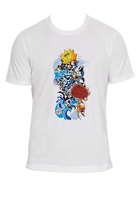 Image of An artfully engineered graphic print T-shirt highlighted by a collage of aquatic patterns that include a colorful school of koi fish and undersea fauna. Crewneck. Short sleeves. Pullover style. Vented hem. Cotton. Machine wash. Imported. SIZE & FIT. Class