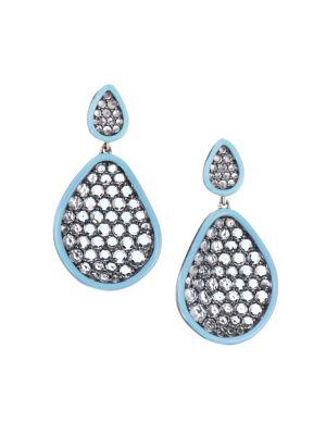 ETHO MARIA Amoeba Blue Topaz 18K White Gold Drop Earrings