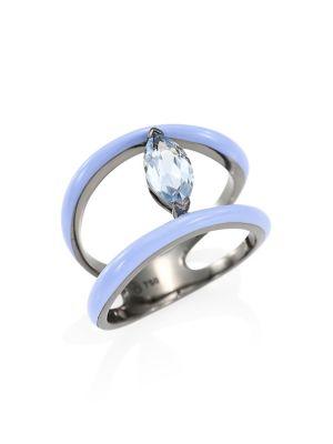 ETHO MARIA Marquise Blue Topaz 18K White Gold Ring