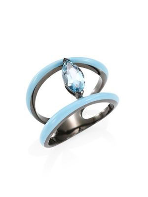 ETHO MARIA 18K Yellow Gold & Marquise Blue Topaz Ring in Teal